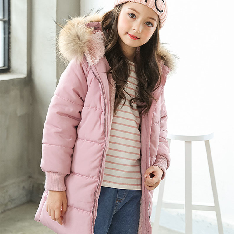 black fur hooded long thick jackets for girls fleece cotton warm coats kids  clothing children winter padded coat kids