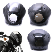 Motorcycle Front Headlight Fairing Smoke Black Clear Visor Cowl Mount For Harley Sportster Iron 883 XL883N Dyna FXR XL