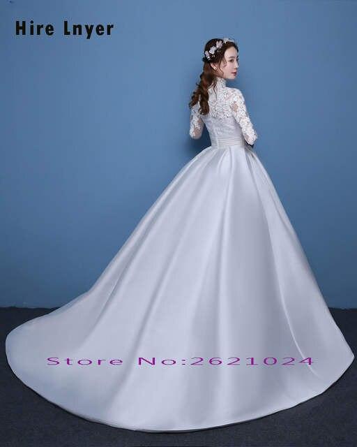 8f4d4cc7984bc placeholder Najowpjg Custom Made Vestido Novia High Neck Long Sleeve  Appliques Satin Ball Gown Wedding Dress Plus