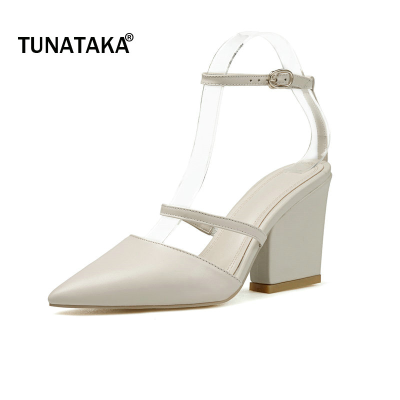Genuine Leather Square High Heel Pointed Toe Woman Ankle Strap Sandals Fashion Buckle Dress High Heel Shoes Summer Shoes Woman egonery flat sandals woman handmade genuine leather low heel pointed toe shoes cross tied shoes ankle strap big size flats 32 43