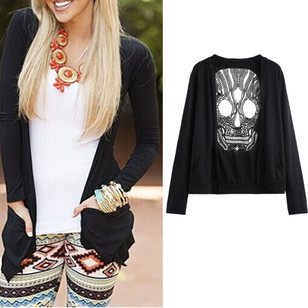 Spring Long Sleeve Hollow Oversized Skull Pattern Cardigan Women Blouse Sexy Backless Crochet Lace Long Cardigans Jacket
