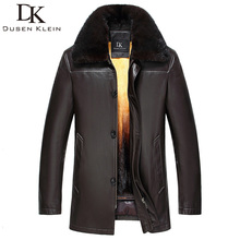 Dusen Klein 2017New Nature Leather Jacket Winter Outerwear Mink Fur Liner Genuine Sheepskin leather Coat 61H2542