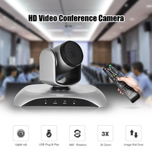 Aibecy 1080P HD Conference Camera USB 3X Zoom 360D Rotation Remote Control Power Adapter for Video Meetings Training Teaching