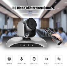 Aibecy 1080P HD Конференц камера USB 3X Zoom 360D Вращающийся адаптер питания с дистанционным управлением для видеовстреч обучения