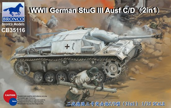 Bronco CB35116 1/35 WWII German StuG III Ausf C/D (2 In 1) bronco model cb35054 1 35 wwii civilian 1937 german opel olympia car