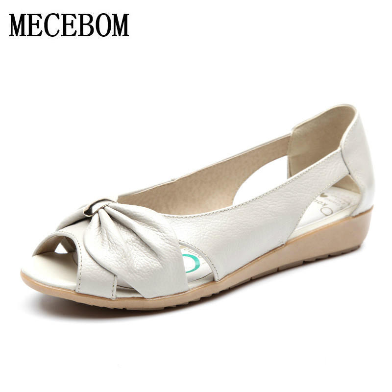 Summer Genuine Leather Ladies Women Cow Leather Hollow Flat Bowknot Butterfly-Knot Metal Plus Size Woman Sandals 667W plus hollow out knot tee