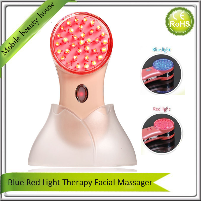 Mini Portable Compact Size Blue Red Led Light Photon Therapy Anti Acne Treatment Skin Rejuvenation Beauty Instruments portable home use led photon blue green yellow red light therapy beauty device for face and body skin rejuvenation firming