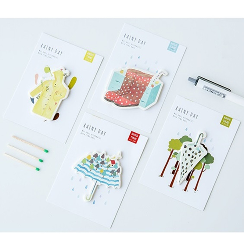 24 pcs/Lot Rainy day sticky note Cute post memo pad Rainshoes sticker Scrapbooking Stationery Office School supplies DM691