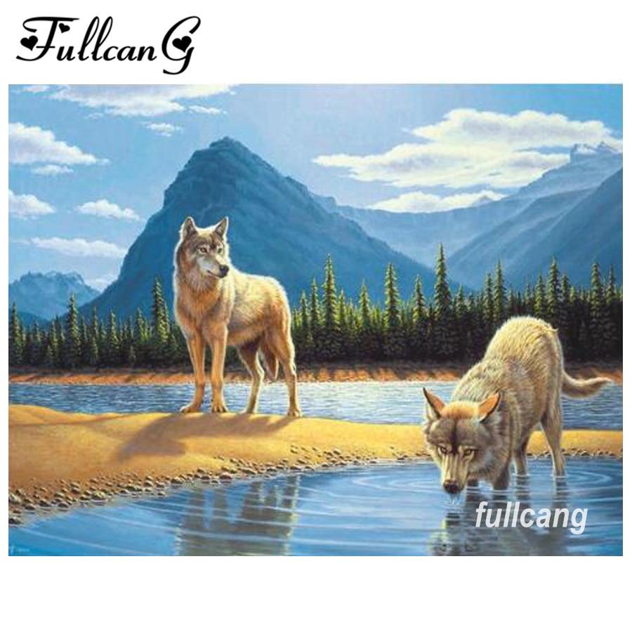 FULLCANG mosaico costura diy 5d bordado de diamantes lobo para beber - Artes, artesanía y costura