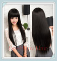 Synthetic Cute Lady's Cheap Lace Cap Heat Resistant Long Straight Black Hair Wig Cosplay Anime Salon Party Diary Wig