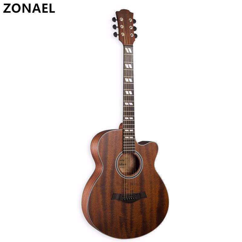 ZONAEL 40 Inch High Quality Acoustic Guitar Rosewood Fingerboard Sapele Guitarra With 6 Strings Folk Guitar Musical Instruments 39 acoustic classical guitar nylon 6 strings hollow body profissionais wooden guitar sapele wood fingerboard free shipping