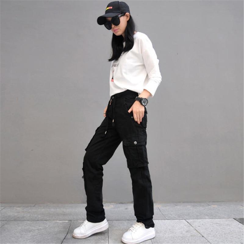 499b52f5e158 Donna Pantaloni Cargo In Cotone Pantaloni Sciolti Plus Size Signore Harem  Hip Hop Pantaloni Militari Donne Gamba Larga Pantaloni Casual A2787 in Donna  ...
