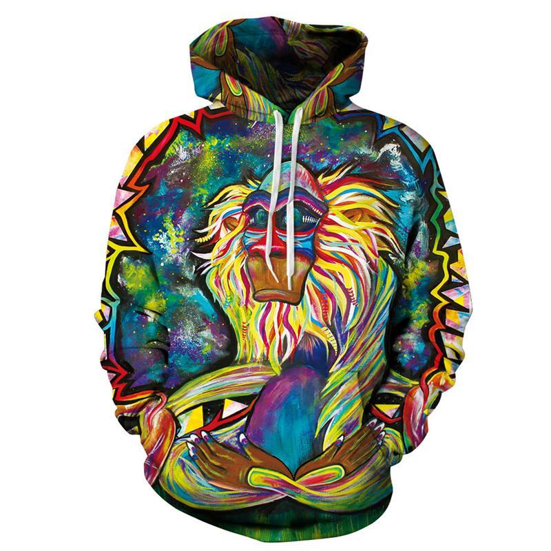 2018 New Spring Autumn Thin Hooded Hoodies Men/women 3d Sweatshirts With Cap Print Wizard Clown Oil Printing Hoody Hoodies