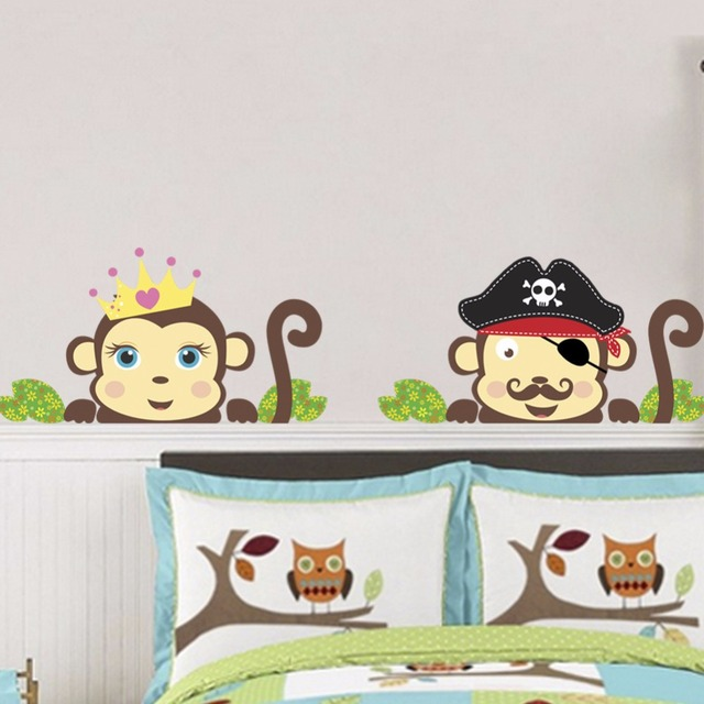Green Leaves Cartoon Monkey Wall Decals Home Decor Headboard Cabinet Wallpaper Poster Mural Kids Infant