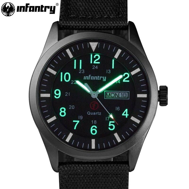 INFANTARIA Mens Relógios Marca Top 2018 Relógios Luminosos do Relógio Do Esporte Dos Homens Da Polícia Militar Preto Nylon Strap Relojes Hombre