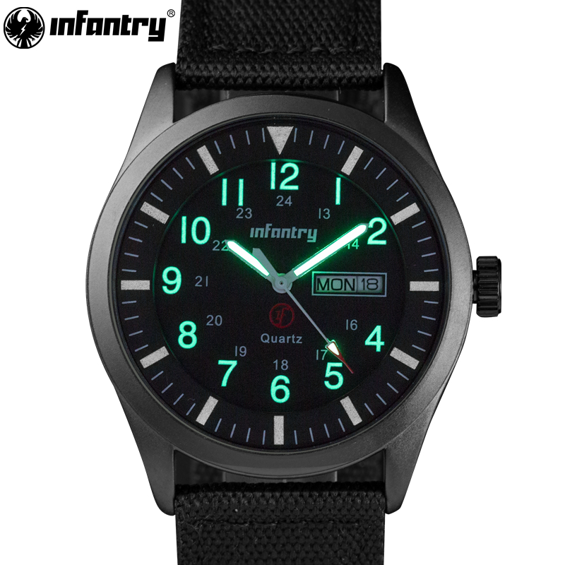 INFANTRY Mens Watches Relojes Hombre Luminous Watches 2018 New Date Day Police Black G10 Nylon Fabric Strap Quartz Watches
