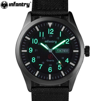 INFANTRY Mens Watches Top Brand 2018 Sport Watch Men Police Luminous Wristwatches Military Black Nylon Strap Relojes Hombre