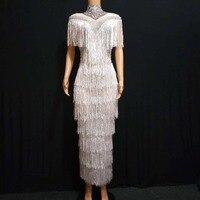 Модное Сетчатое платье со стразами и бахромой, вечернее платье для женщин, день рождения, празднование, платье с кисточками, платье для сцен