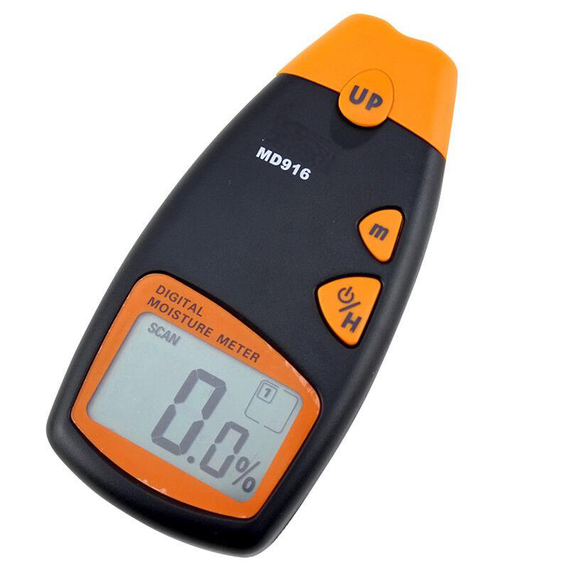 Portable wood moisture meter Digital Paper moisture tester Shrapnel contact measurement Measuring  range 2% -40% Resolution 0.5% mc 7806 wood moisture meter detector tester thermometer paper 50% wood to soil pin