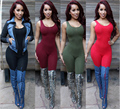 Rompers Women Jumpsuit 2017 New Fashion Solid Color Sleeveless Sexy Backless Round Neck Knitted Bodycon Grey Long Pant Jumpsuits