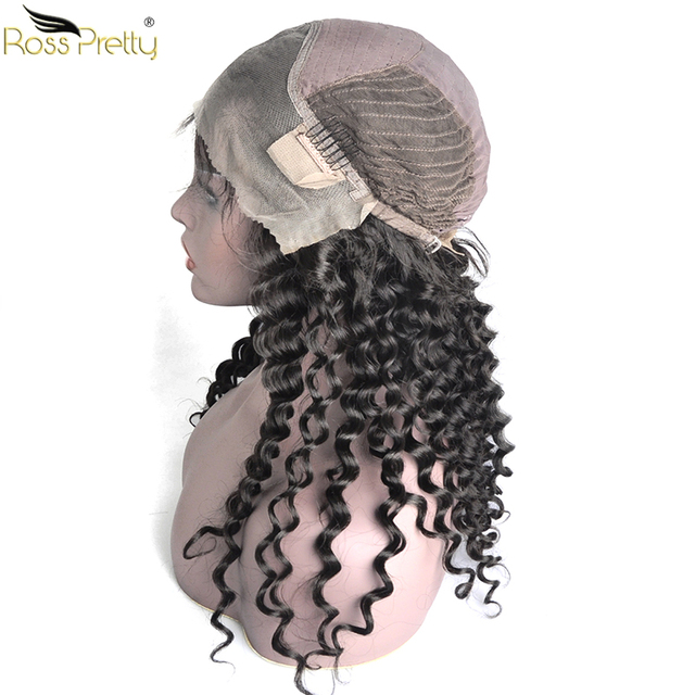 Baby Hair and Pre Plucking Remy lace front human hair wigs Ross Pretty Hair Brazilian Deep Wave Human Hair Wigs Density 150%