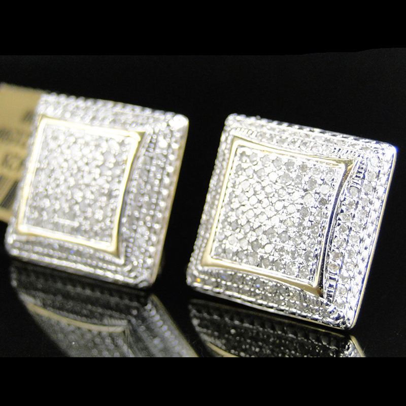 Hip Hop Geometry Square Iced Out Bling Stud Earrings Gold Color Micro Pave Cubic Zircon Stud Earring For Men & Women Z4M327