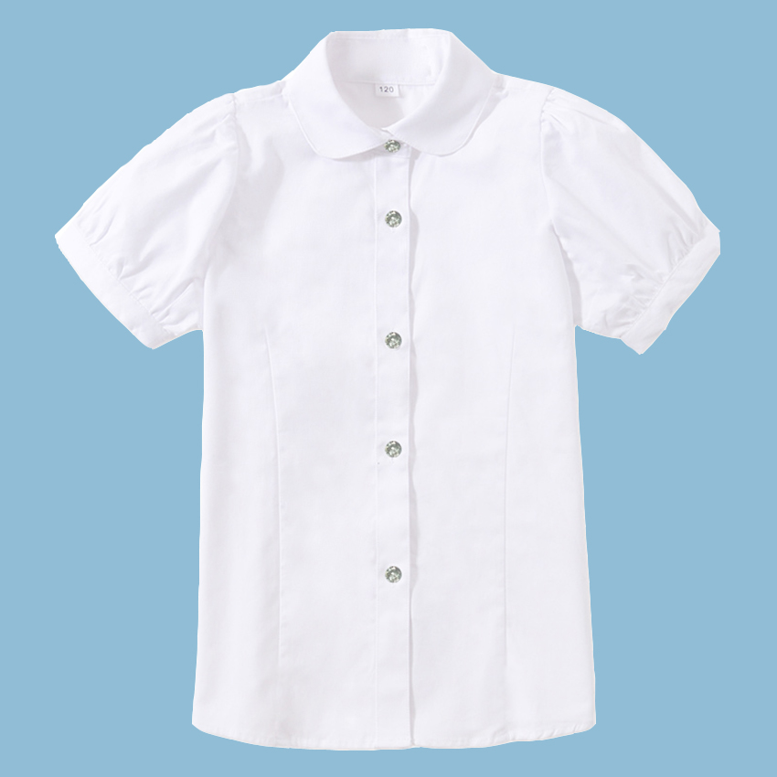 b9f21859d30 Girls White Shirts Solid 100% Cotton Short Sleeve Tops for Teenagers School  Uniform Kids Preppy Style Blouse Wedding Party Shirt