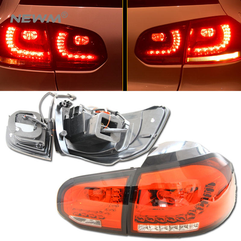 4pcs Car Styling For VW Golf 6 tail lights 2008 2009 2010 2011 2012 led tail light R20 rear lamp cover drl+signal+brake+reverse brake lamp rear driver passenger side tail light for nissan patrol gu 4 5 6 7 8 2005 2006 2007 2008 2009 2010 2011 2012 2016