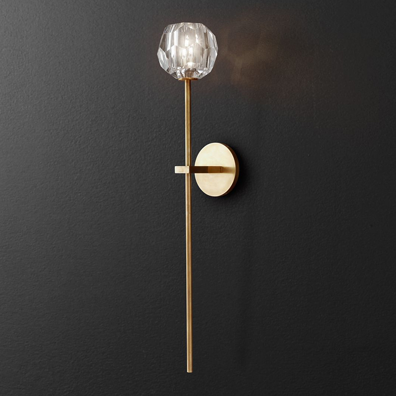 Retro RH K9 Crystal Shades G9 Wall Lamp American Bedside Sconce Lighting Fixtures Lustre Living Room Wall Light