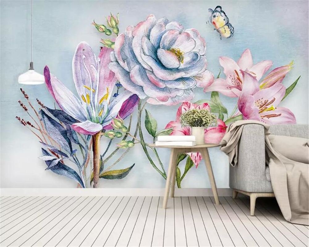 Beibehang 3d wallpaper high quality hand painted - High resolution watercolor flowers ...