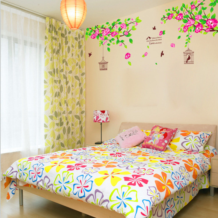 70*170cm Large Pink Hibiscus Flower Birds Cage Removable Wall Sticker Home Docor Vinyl Art Mural for Bedroom AY1916A ...