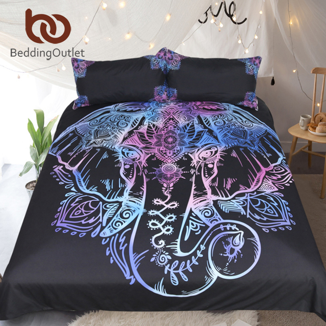 BeddingOutlet Bohemian Elephant Bedding Set Single Queen Size Duvet Cover Lotus