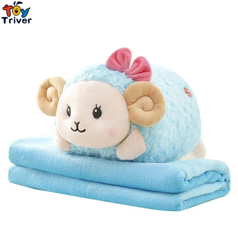 Plush Sheep Portable Blanket Stuffed <font><b>Toy</b></font> Doll Baby Kids Shower Car Air conditioning Travel Rug Office Nap Carpet Birthday Gift