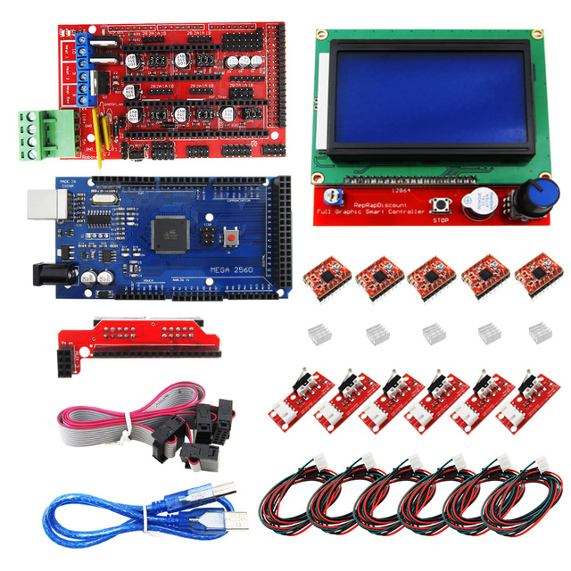 CNC 3D Printer Kit for Mega 2560 R3 + RAMPS 1.4 Controller + LCD 12864 + 6 Limit Switch Endstop + 5 A4988 Stepper Driver for endstop mechanical limit switches 3d printer switch with cable for ramps 1 4 cnc 3d printer accessories free shipping