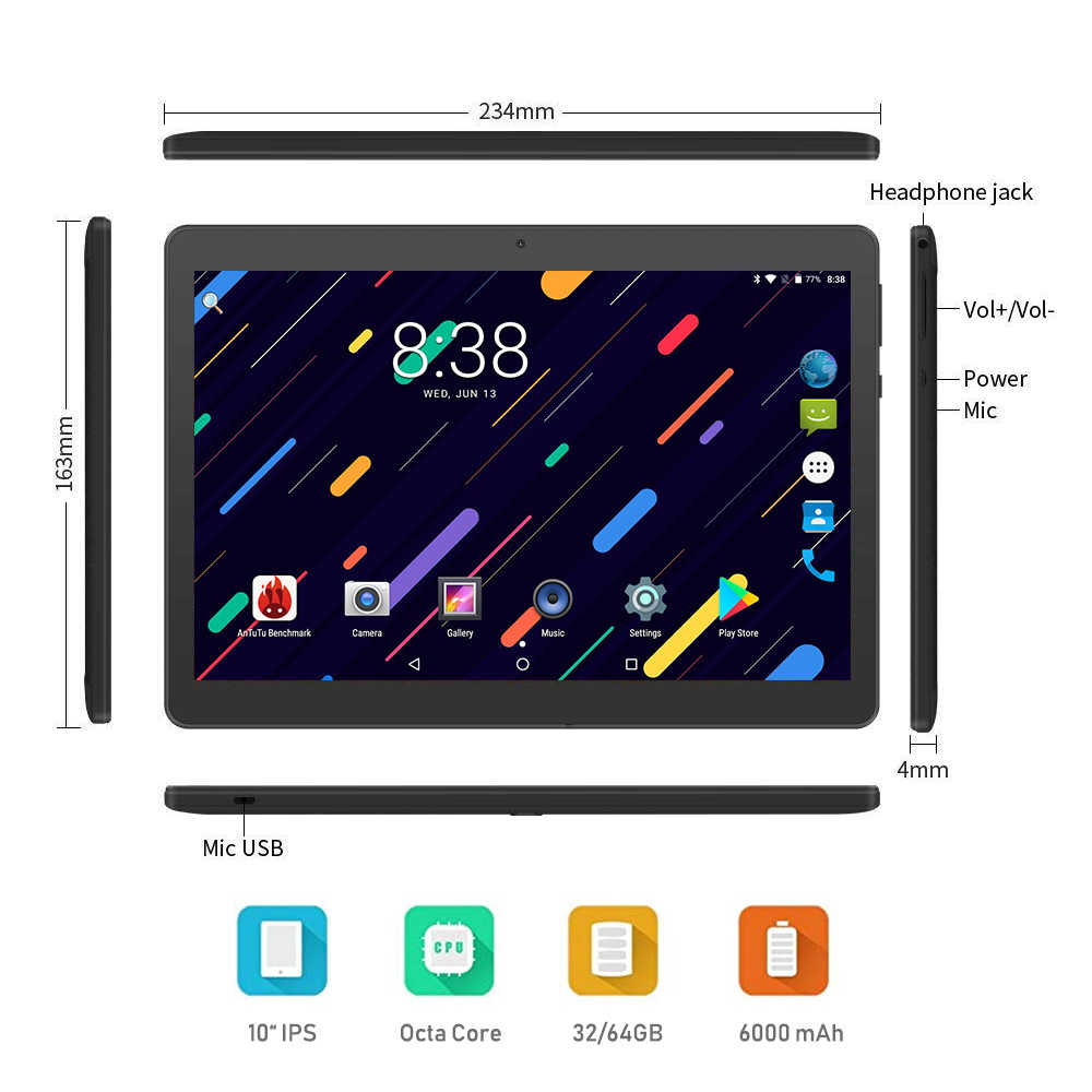 Super 10 inch tablet Android 7.0 Octa Core 4GB RAM 32GB ROM 1280X800 IPS 4G FDD LTE WIFI GPS Tablet 10 + Gifts Free Shipping