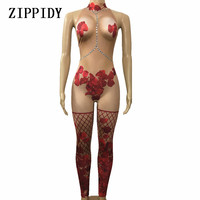 Sexy Rose Flower Nude Jumpsuit Photo Shoot Outfit Stage Dance Petal Bodysuit Nightclub Costume Female Singer Performance Wear