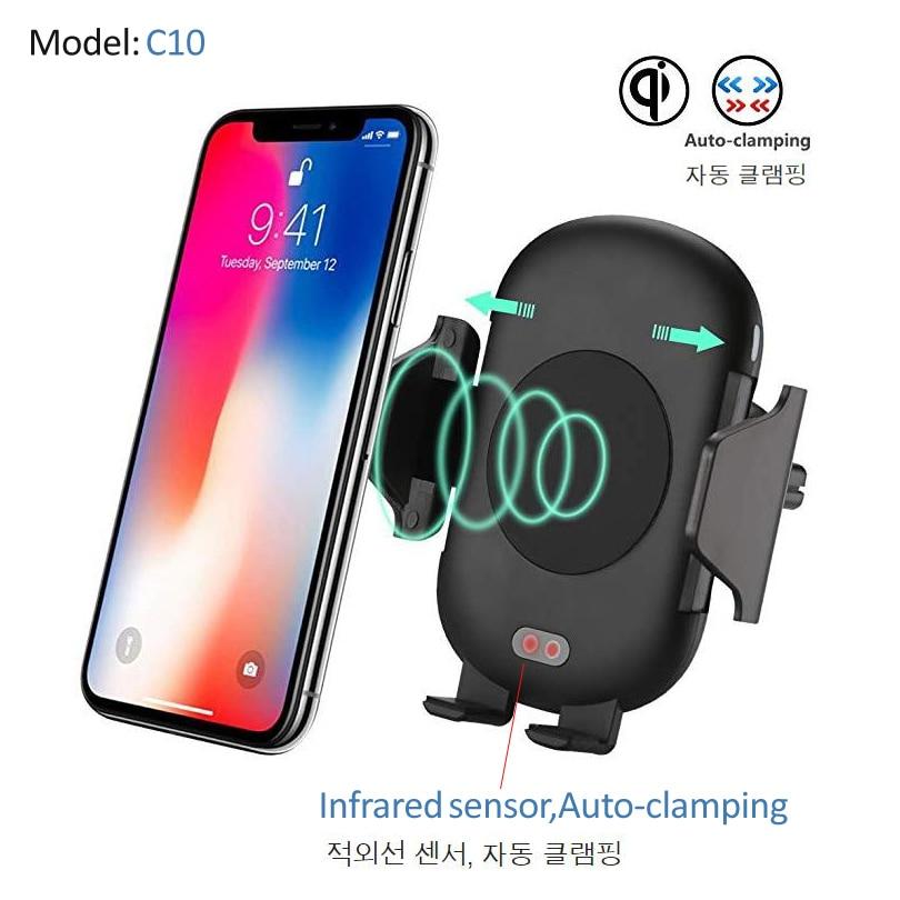 Supporto dell'automobile Caricabatteria Da Qi Wireless car Auto Del Supporto Del Basamento Per il iphone X 8 Più Veloce Veloce Carica Pad di Ricarica Senza Fili per Samsung S9 S8