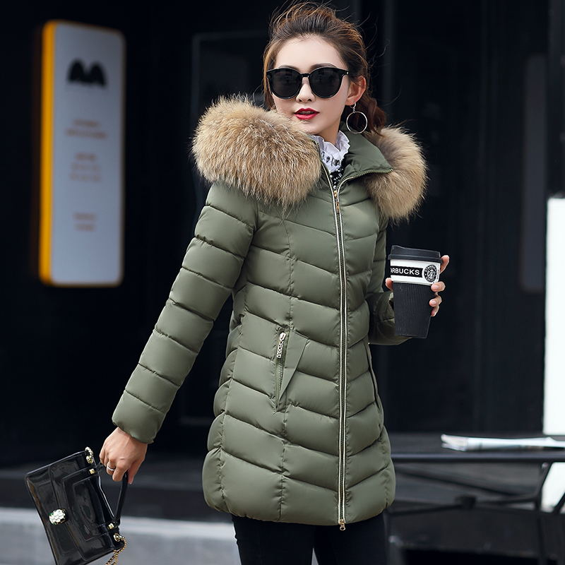 New 2019 Winter Jacket Women Coats Artificial raccoon hair collar Female   Parka   black Thick Cotton Padded Lining Ladies S-XXXXL