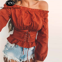 NewAsia Garden Off Shoulder Sexy Women Long Sleeve Blouse Shirt Lace Up Female Shirts Ruffles Autumn