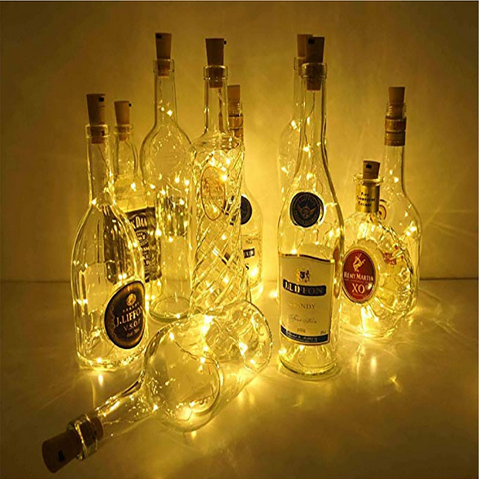 2m 20led Battery Power Bottle Lights LED Cork Shape String Lights For Bistro Wine Bottle Starry Bar Party Valentines Night Light