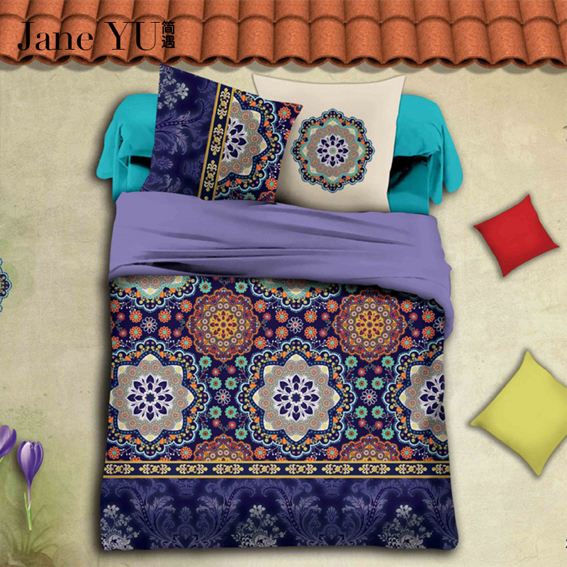 JaneYU Bedding Sets 4 Pcs Queen Size Home Bedclothes Bed Linen Duvet Cover Set Bed Sheet in Bedding Sets from Home Garden