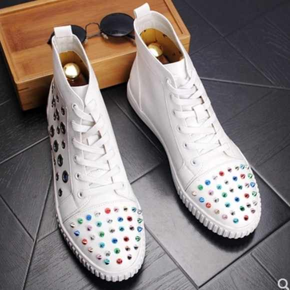 a75ceac7074 Detail Feedback Questions about High Top Rivets Embellished Men ...
