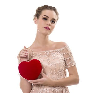 Image 5 - SEKUSA Velluto acrilico diamanti a forma di cuore rosso/nero borse da sera mini borsa della frizione con la catena della spalla del sacchetto di sera per da sposa