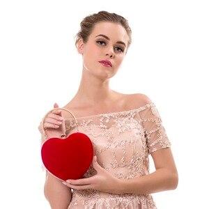Image 5 - Sekusa veludo acrílico diamantes em forma de coração vermelho/preto sacos de noite mini bolsa embreagem com corrente ombro saco de noite para o casamento