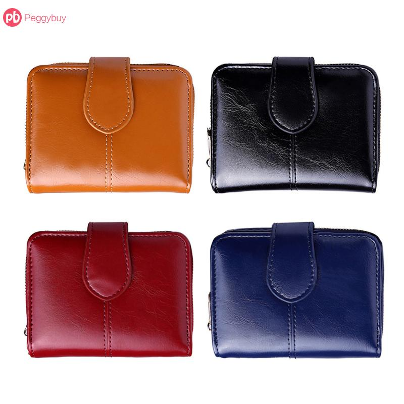 Female Short Wallet PU Leather Oil Wax Bifold Coin Purse Card ID Holder Photo Pocket Small Wallet Red New