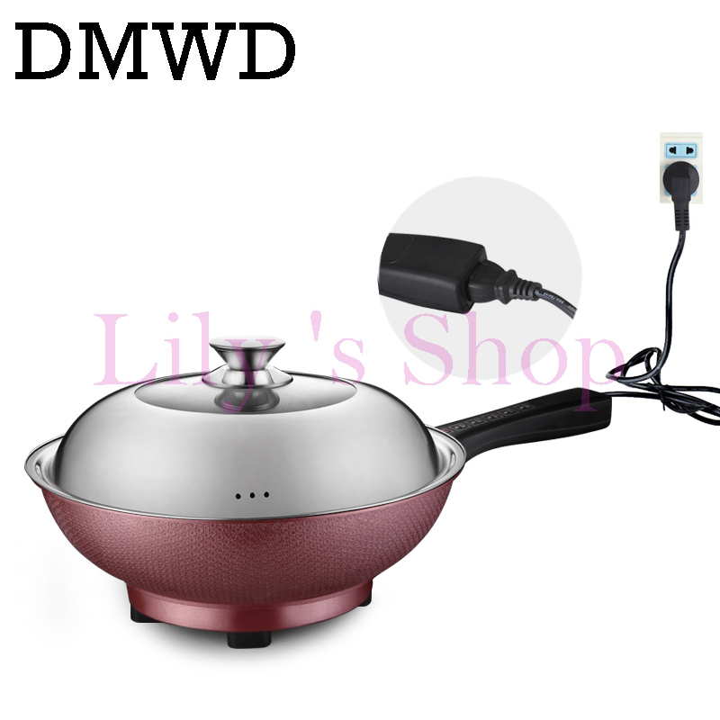 DMWD Electric cooker electric pot multifunction non-stick hotpot fried steak smokeless cooking frying heat pan 1600W EU US plug black fashion midea home appliances electric rice cooker multicooker 24 hours preset non stick pot digital electric multi cooker