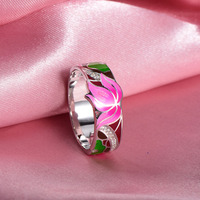 RainMarch Bohemian Enamel Lotus Flower Silver Ring For Women 925 Sterling Silver Ring Engagement Party Handmade