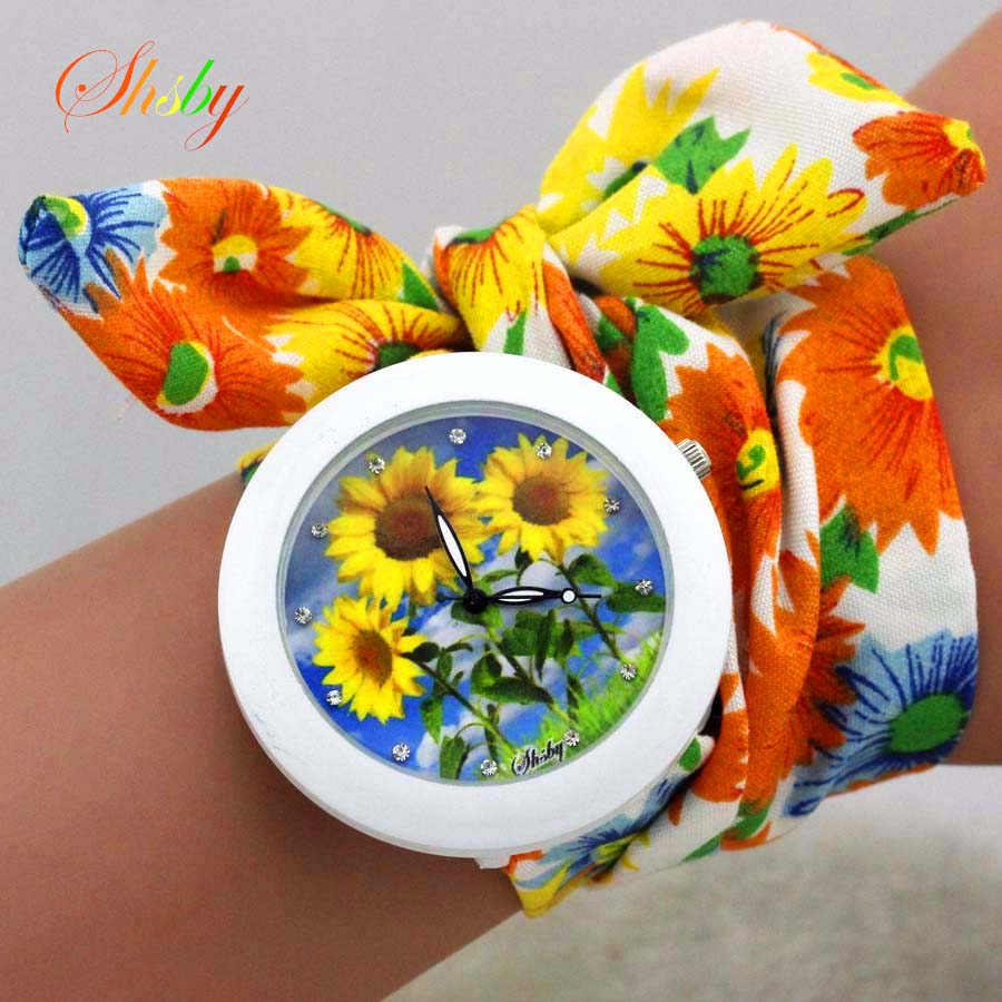 shsby new floral chiffon sweet girls watch Sweet chiffon fabric women dress watches fashion Ladies flower cloth wrist watch meifeier 407 women s fashionable knitted chiffon blouse apricot l