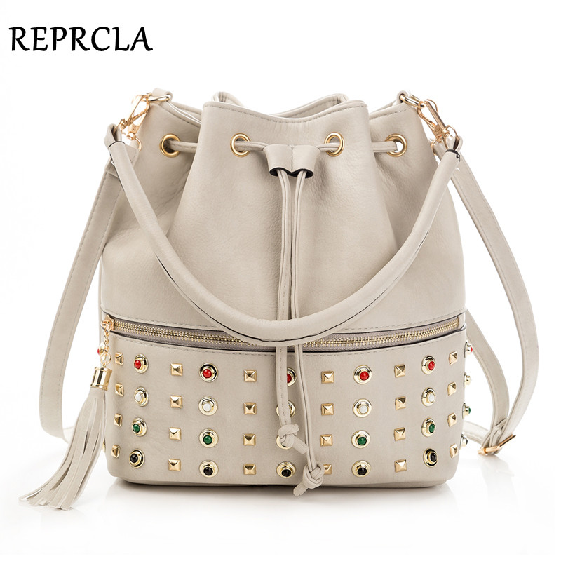 REPRCLA Luxury Brand Women Bucket Bag Fashion Tassel Shoulder Bag High Quality Rivet Messenger Bags Female Crossbody Bag Tote