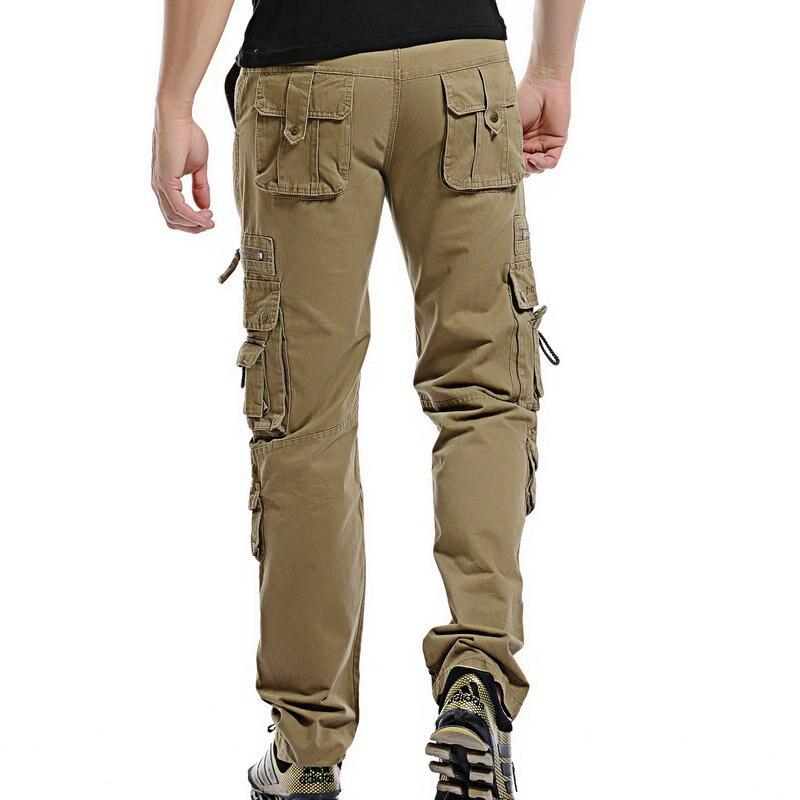 2018 Top Fashion Solid Cotton Cargo Pants Men Casual Slim Workout Men Trousers Multi-pocket